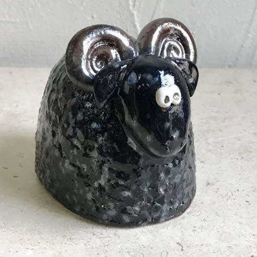 9cm black and gold ram hand made from clay