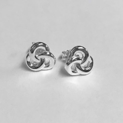 9mm Silver celtic design stud earrings