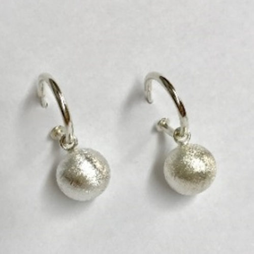 Classic sterling silver hoop earrings with silver drop ball