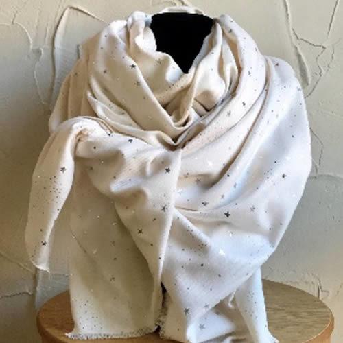 Cream coloured scarf with silver star design