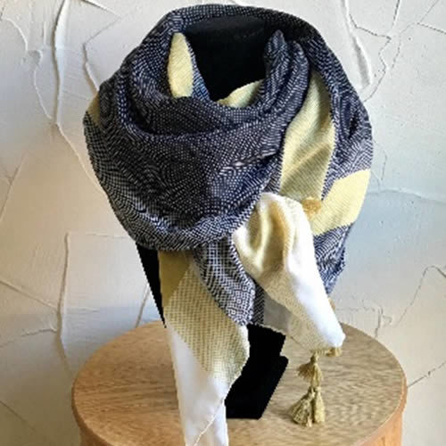 Grey and mustard light weight scarf with tassels