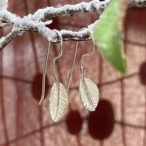 Drop Earrings In A Textured Silver Leaf Shape