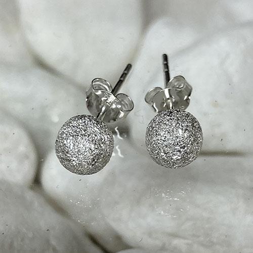 Small Silver Glitterball Stud Earrings