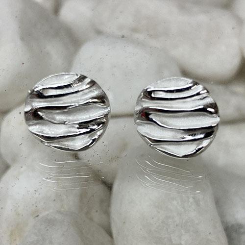 Circular Stud Earrings Ruched Design