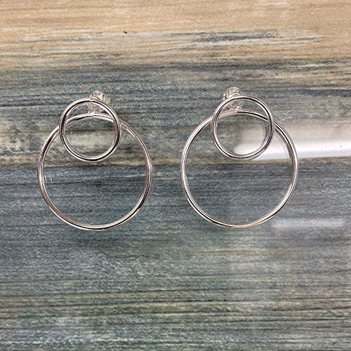 Double Circle Earrings In Sterling Silver