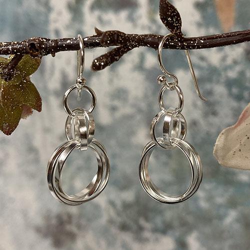 Sterling Silver Drop Earrings 3 Large Hoops