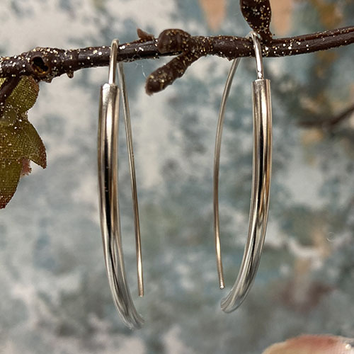 Long Silver Drop Earrings With Silver Tube Design