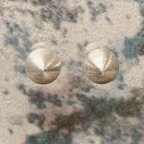 Round Ball Stud Earrings With A Matt Satin Finish