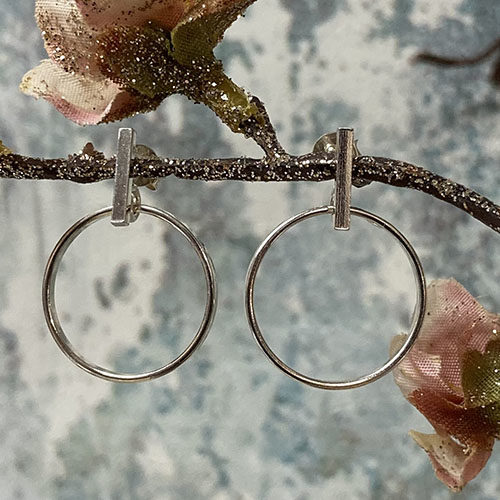 Silver Earrings With Silver Bar And Hoop