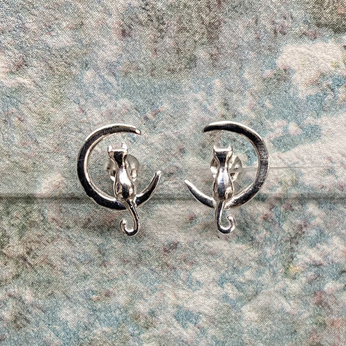 Stud Earrings Featuring A Cat On A Crescent Moon