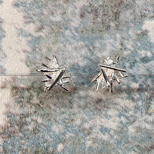 Silver Stud Earrings In An Abstract Design