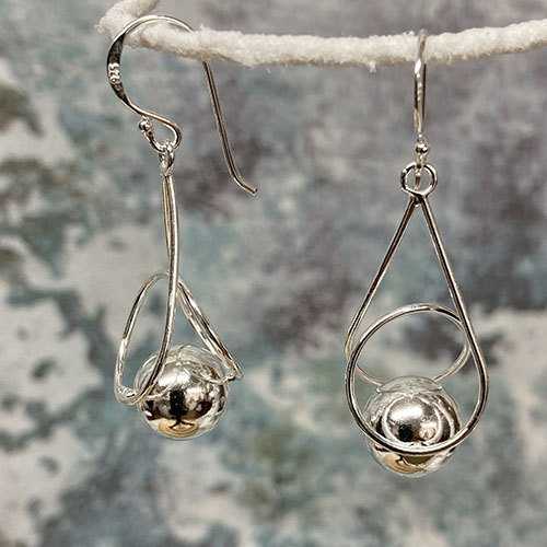Silver Drop Earrings With Silver Silver Ball