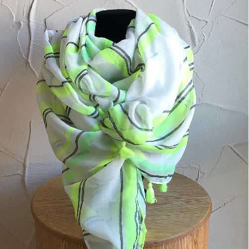 Lime green and grey scarf with tassels