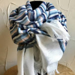 Long rectangular scarf with blue and pink stripes