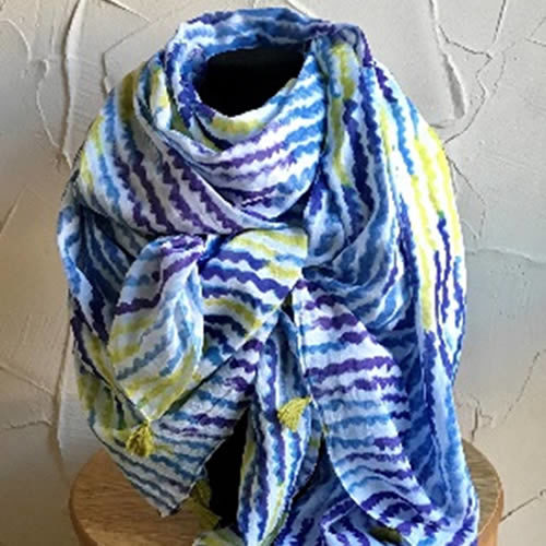 Multi coloured scarf with tassels