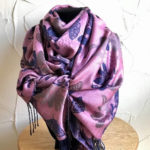 Pink and blue pashmina with fringes