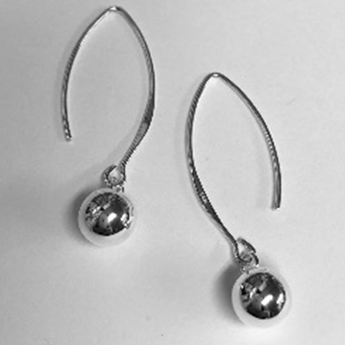 Sleek and elegant long hook earrings with an 8mm silver ball