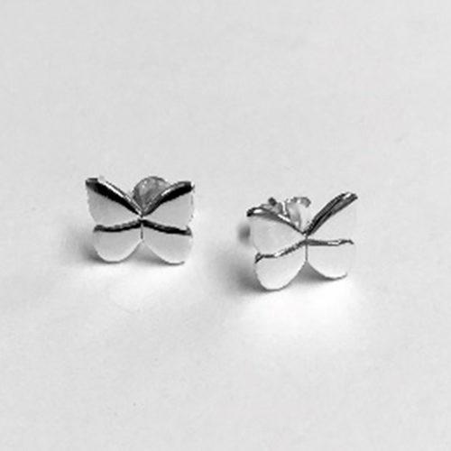 Solid silver butterfly shaped stud earrings