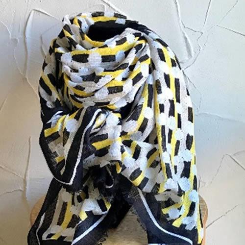 Yellow and black long rectangular scarf