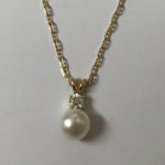 hand made custom gold necklace with pearl pendant