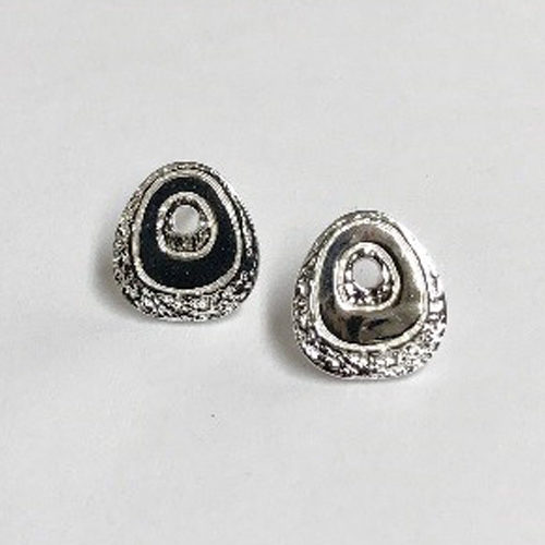 13mm scratched finish stud sterling silver earrings