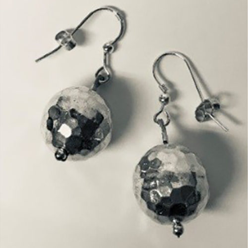 15mm round sterling silver ball earrings on a silver hook