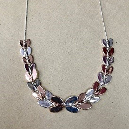 18-inch silver costume necklace with shiny silver and rose gold coloured links