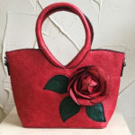 33cm x 21cm small red bag with flower detail on front