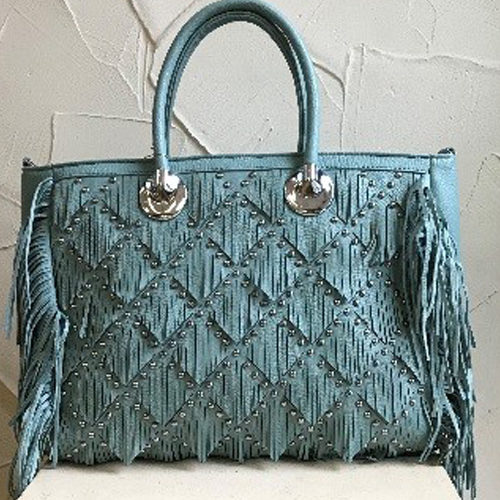 40cm x 29cm mint green bag with metal stud detail and fringes
