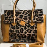 40cm x 29cm mustard and animal print fashion bag
