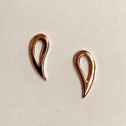 9ct rose gold open elongated stud earrings
