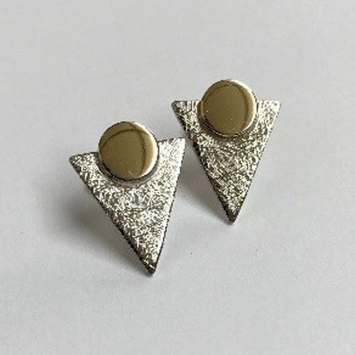9ct yellow and white gold triangle shape earrings with a scratched finish