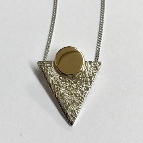 9ct yellow and white gold triangle shape pendant with a scratched finish