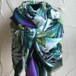 Fabulous long rectangular scarf in beautiful tropical colours