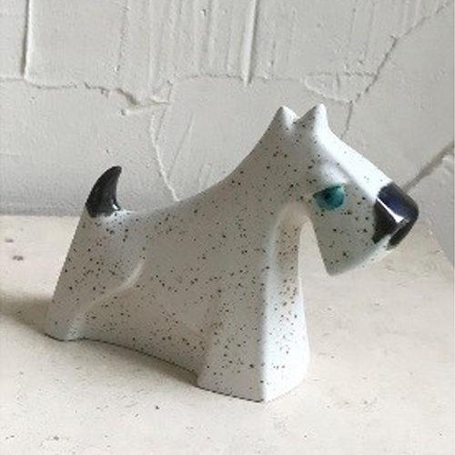 Funky 13cm white speckled scotty dog