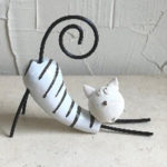 Funky 20cm white pounce cat