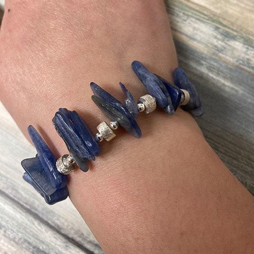Sterling silver and blue kyanite bracelet