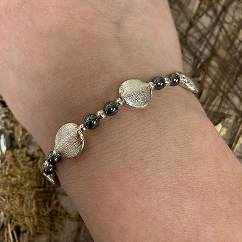 Sterling silver bracelet with hematite