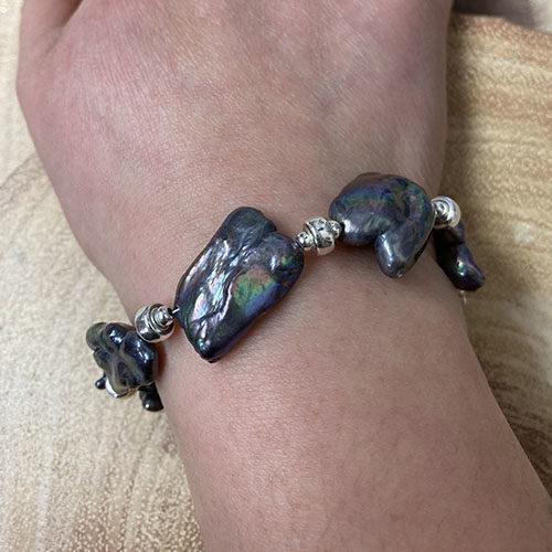 Sterling silver and blue biwa freshwater pearl bracelet