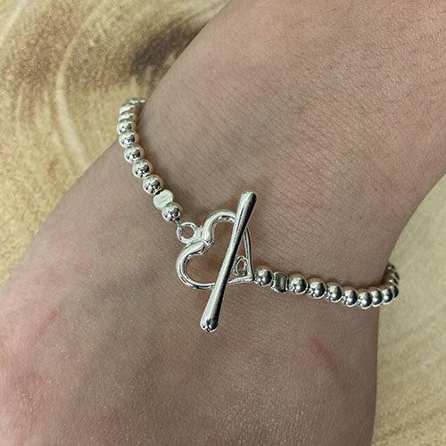 Sterling silver 5mm silver beaded bracelet