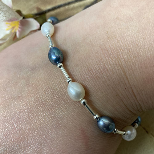 Sterling silver, white and blue freshwater pearl bracelet