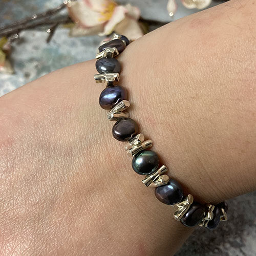 Sterling silver and blue freshwater pearl bracelet