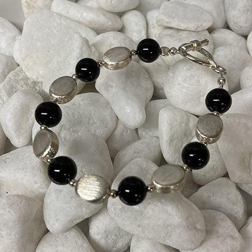 Sterling silver bracelet with black onyx