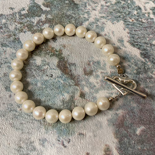 Sterling silver and white freshwater pearl bracelet
