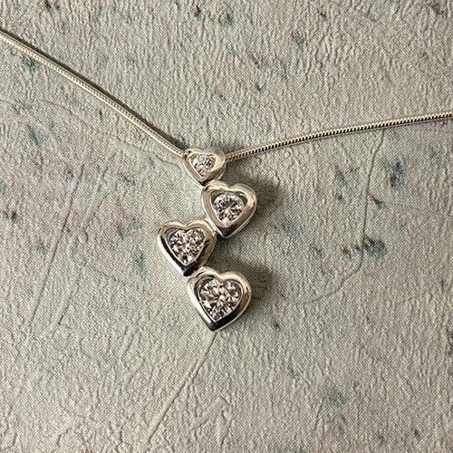 Sterling silver 4 hearts drop pendant
