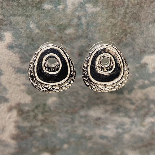 Scratched finish stud sterling silver earrings