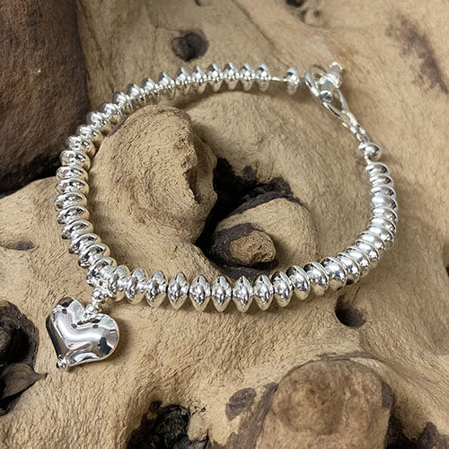 Sterling silver bracelet, rondel beads and heart charm