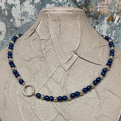 Blue electro plated hematite sterling silver necklace