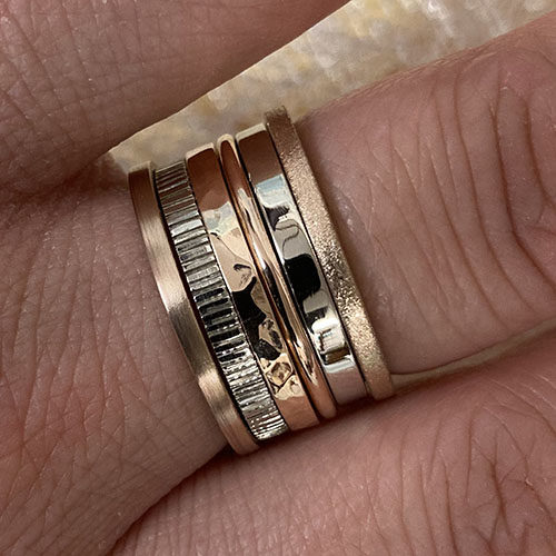 White gold and rose gold stacking rings