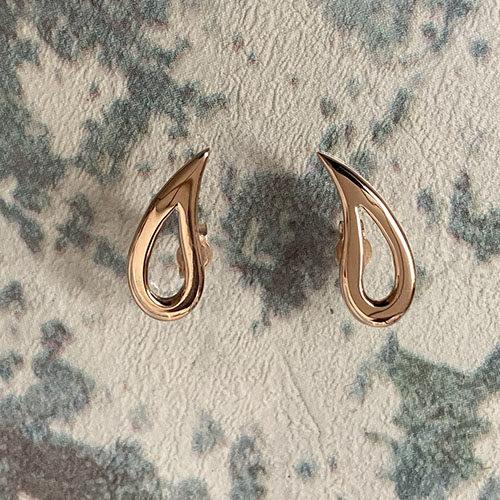 Rose gold open elongated stud earrings